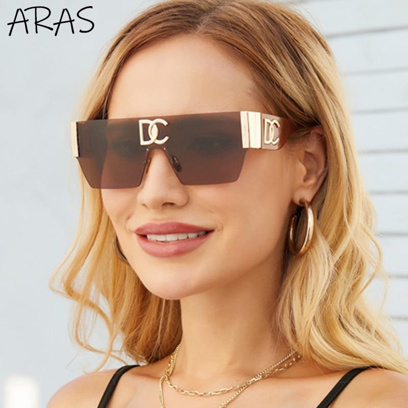 Rimless One Piece Square Sunglasses Women Frameless Flat Top Sun Glasses Men Luxury Brand Designer S
