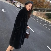 winter thick warm plus size loose black long rabbit fur coat women overcoat korean fashion 3 color faux rabbit fur jacket female