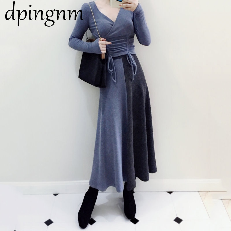Women's Sweater Designer Runway Dress 2019 Autumn Winter Fashion Hit Color Plus Size Knit Dress Casual Turtleneck Vestidos f1441