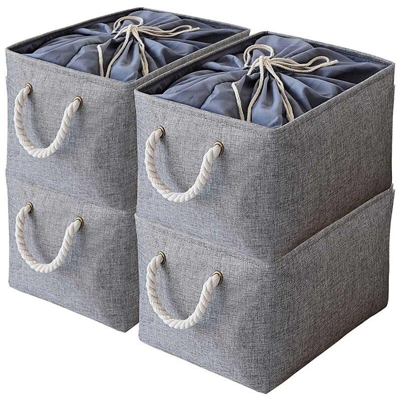 4 قطعة سلة التخزين طوي بن مع غطاء الرباط و 2 مقابض ، علب تخزين قابلة للطي ، سلال لتنظيم