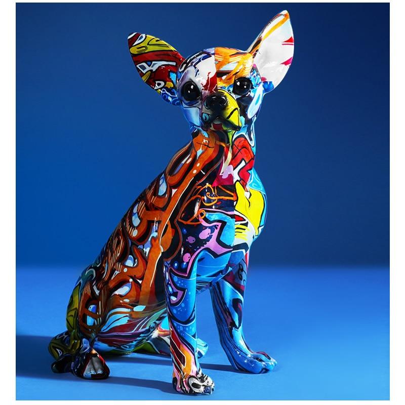 Estatua creativa de perro Bulldog Chihuahua, escultura de resina, decoración para el hogar, oficina, Bar, tienda, artesanía