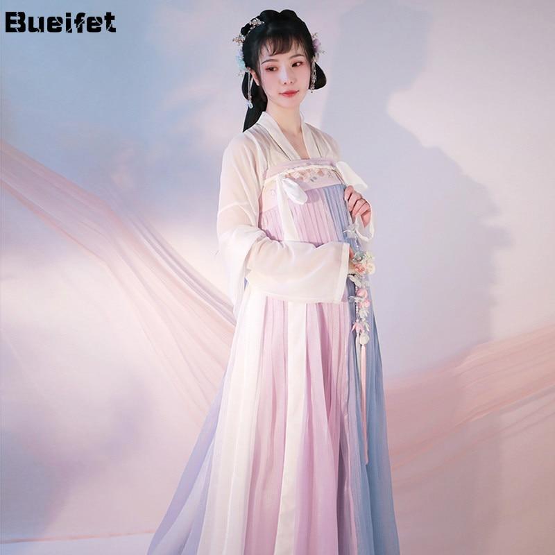 فستان Hanfu الصيني التقليدي للنساء ، بدلة تانغ عتيقة ، فستان رقص الأميرة ، ملابس خرافية شرقية قديمة ، ملابس رقص شعبي