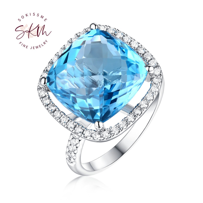 SKM Blue Topaz engagement ring white gold Halo set diamond wedding Ring Half eternity ring for women large Gemstone Jewelry