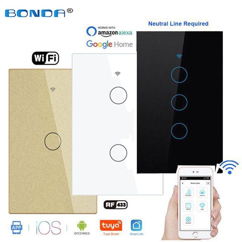 BONDA-مفتاح حائط ذكي يعمل باللمس مع جهاز تحكم عن بعد ، ومحول حائط ذكي يعمل باللمس مع WiFi RF ، والتحكم الصوتي ، ومحول WiFi AC 110v250v