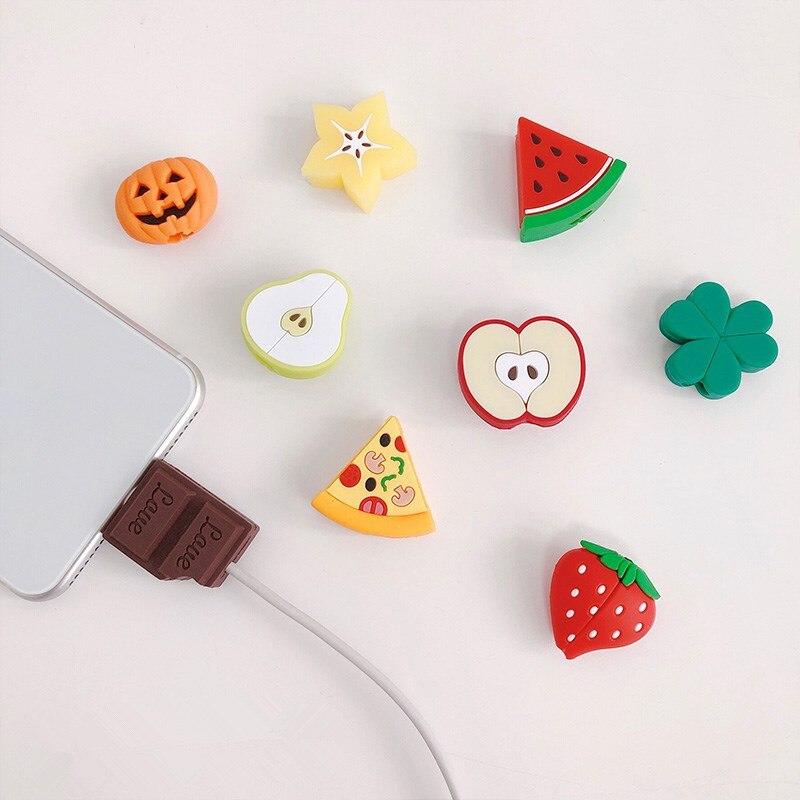 NEUE Silikon Niedlich Obst Kabel Organizer Für iPhone Kabel Protector De Cabo USB Chager Draht Halter Für Android TYPE-C Kabel