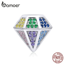 bamoer Full Paved CZ Rainbow Diamond-shape Charm for Original Bracelet 925 Sterling Silver Metal Beads for Women Jewelry SCC1456