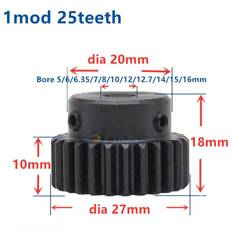 Engranaje de Metal Mod 1 M = 1 CNC espolón engranaje piñón 25 T 25 dientes taladro 5-17mm engranaje positivo 45 # estante de engranaje de acero transmisión RC Coche