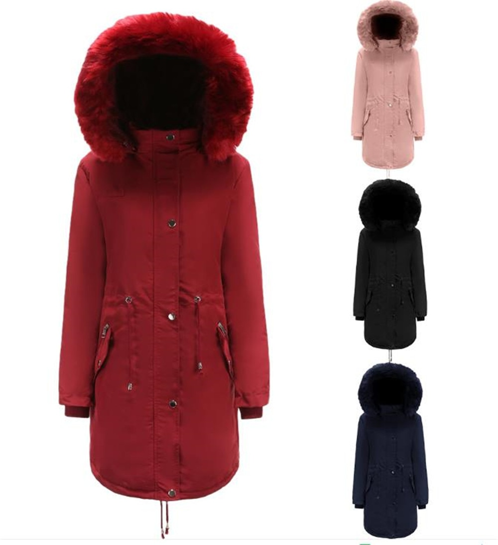 Womens Coat Solid Color Fur Hooded Single Breasted Tighten Waist Down Jacket Thick Fleece Warm Outerwear