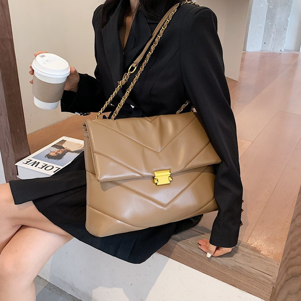 Large Vintage PU Leather Crossbody Bag for Women 2021 Branded Chain Designer Handbags Lady Trend Cross Body