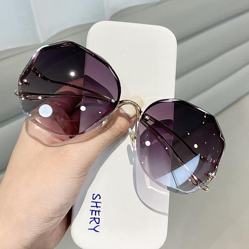 2021, солнцезащитные очки без оправы, модные солнцезащитные очки, женские очки, декорированные очки, модные солнцезащитные очки, женские винт...
