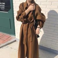 retro long coats women belt tops female 2021 casaco warm double sides wool coat winter woolen overcoat cashmere clothes fg99