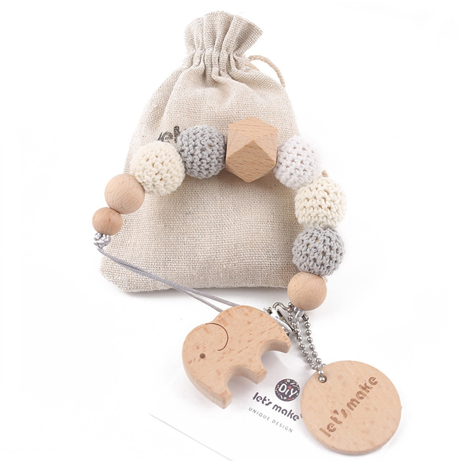 1PC Baby Pacifier Chain Elephant Wooden Clip Geometric Crochet Beads Bag Wood Teether Tiny Rod Dummy Clips Baby Pacifier Holder