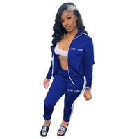 letter embroidery sportswear jogging suits women zipper up long sleeve jackets tops and biker trousers 2 piece set