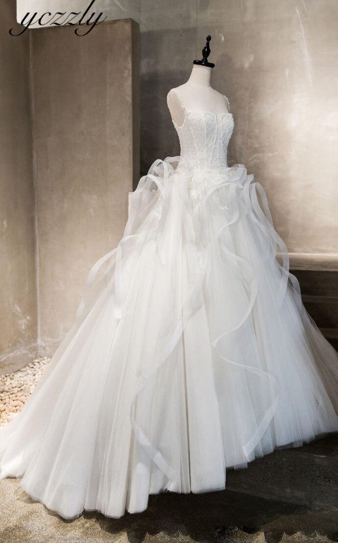 Vestido De Novia Con Volantes y tirantes finos, Vestido De boda De talla grande De encaje Con apliques De perlas, W46