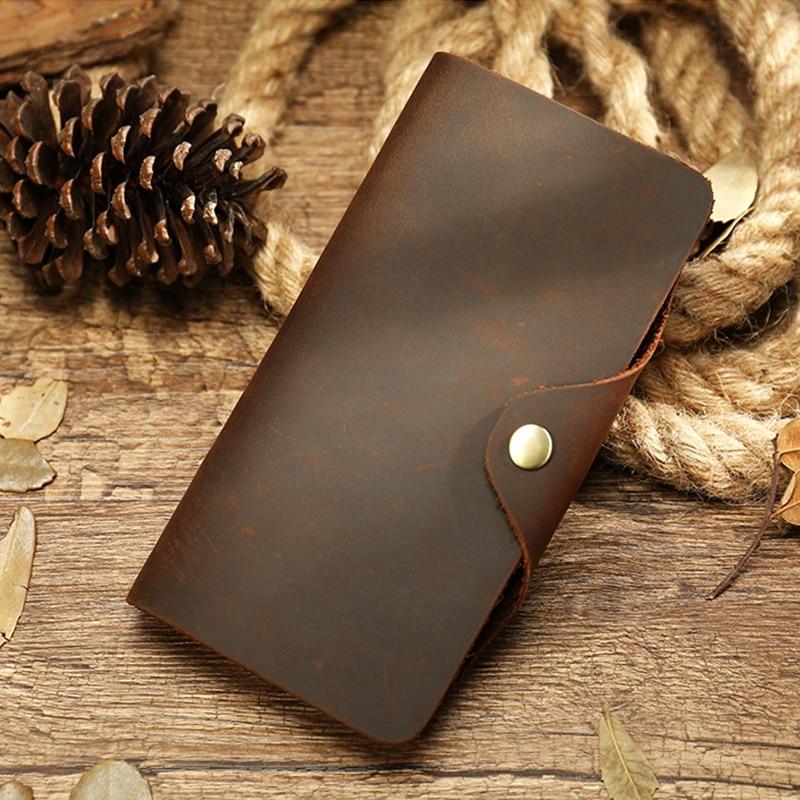 MAHEU Vintage Bifold Long Wallet Men Women Clip Button Cow Leather Long Purse With Photo Multi Card Slots Phone Passport Wallet