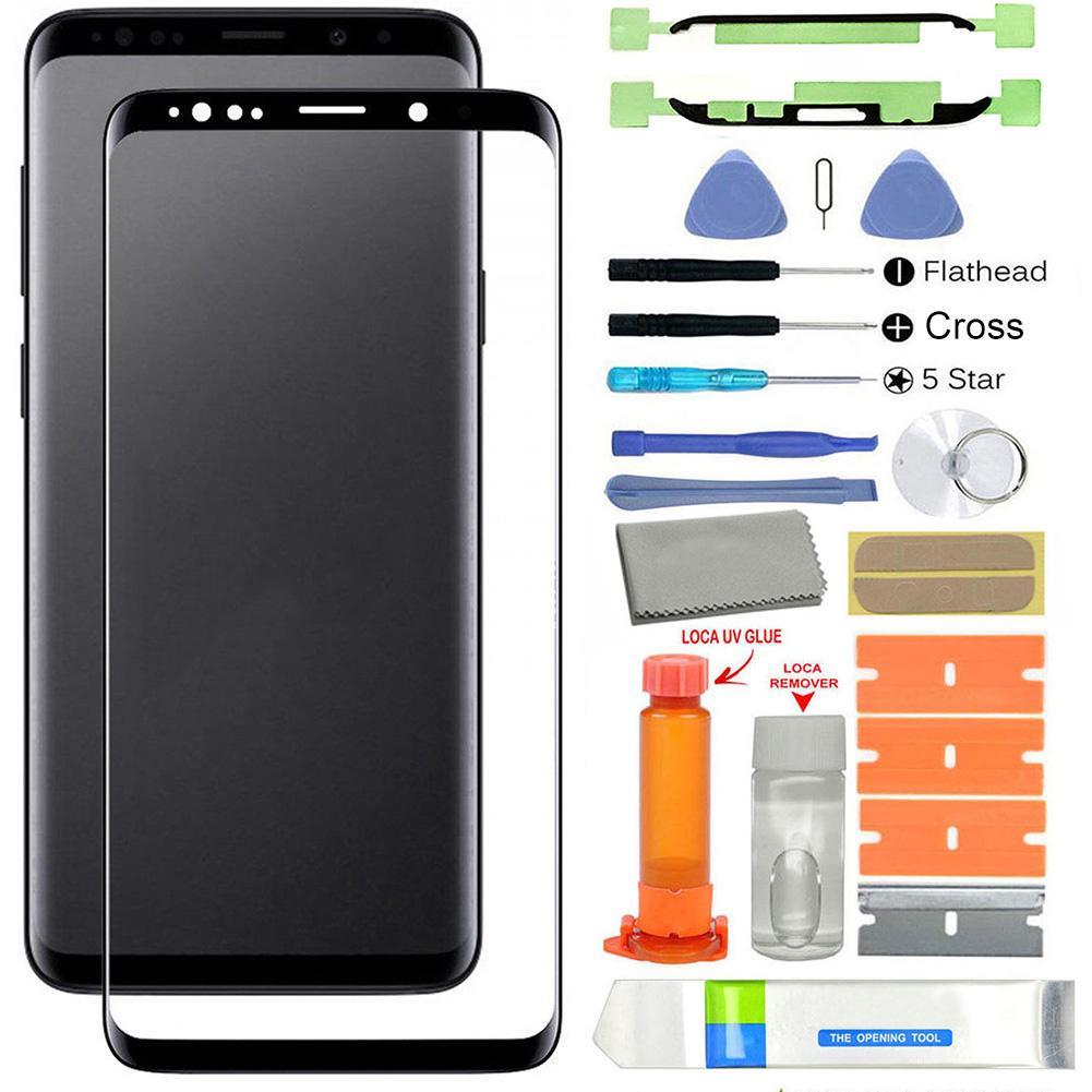 الأشعة فوق البنفسجية الغراء الزجاج الأمامي استبدال الشاشة لسامسونج غالاكسي S9 G960/S9 زائد G965 LCD عرض لوحة اللمس الخارجي الشاشة