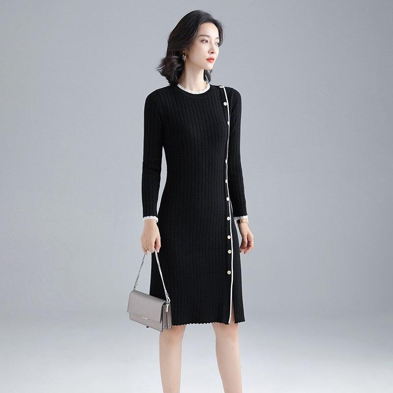 جديد الموضة المتخصصة عبر منتصف طول عالية الخصر الدانتيل متابعة مطوي فستان محبوك GRAY22