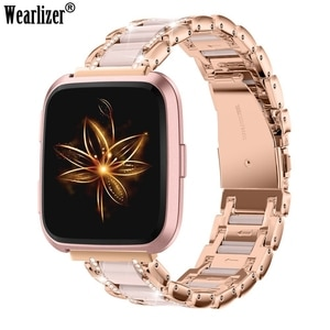 Wearlizer Metal Crystal Strap for Fitbit Versa Band Women Men Luxury Leisure Strap Replacement Wristbands for Fitbit Versa 2