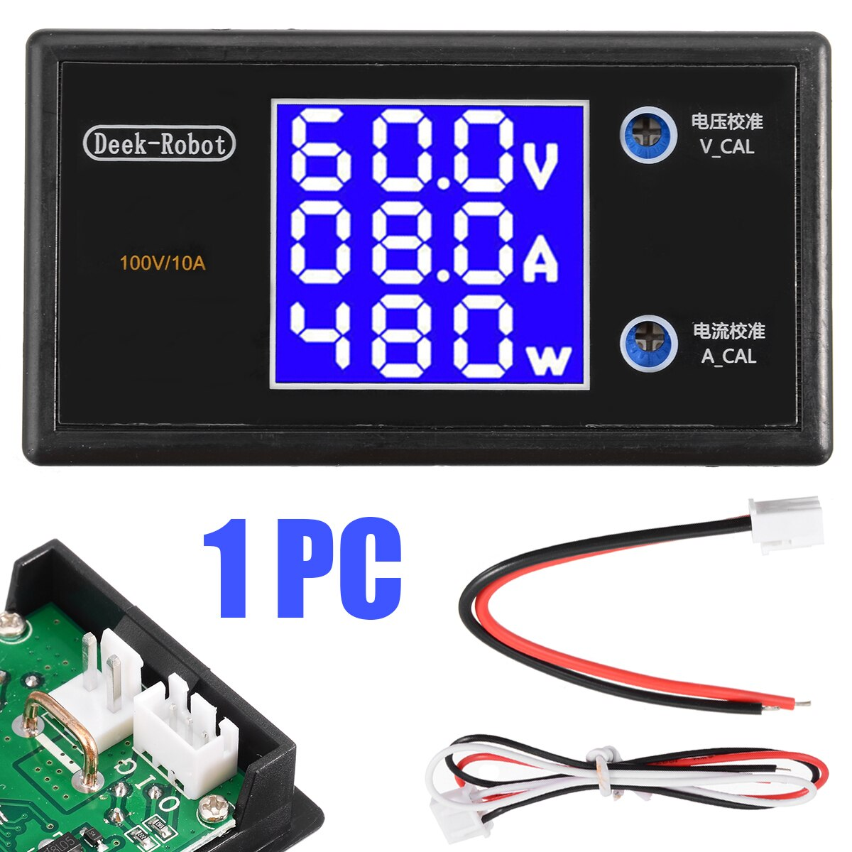 Para probador de voltímetro Digital LCD voltímetro amperímetro potencia medidor vatímetro Monitor de corriente de voltaje CC 10A 100V 1000W Mayitr