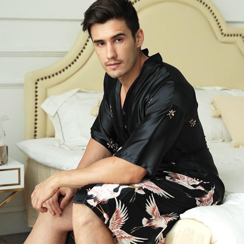 FZSLCYIYI стильный мужской% 27 халат шелк кимоно длинные рукава халат китайский счастливый дракон принт пижамы мужчины платье халат мужчины домашняя одежда