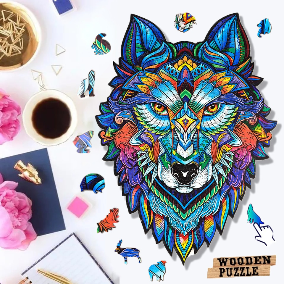 Unique Wooden Puzzle animal Jigsaw Puzzles Mysterious Wolf Puzzles Gift For Adults Kids Educational