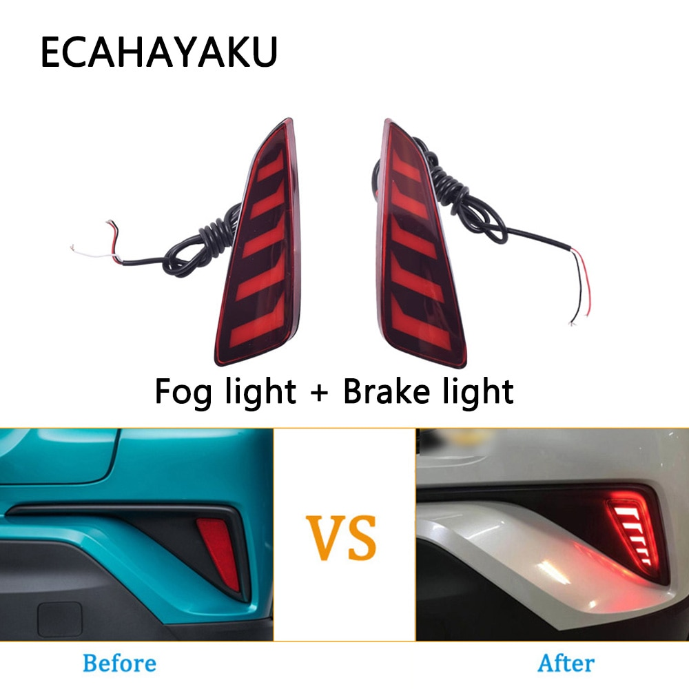 ECAHAYAKU para Toyota C-HR CHR 2017 2018 2019 2020 luz de freno de conducción trasera LED para coche luz antiniebla reflector de luz de advertencia