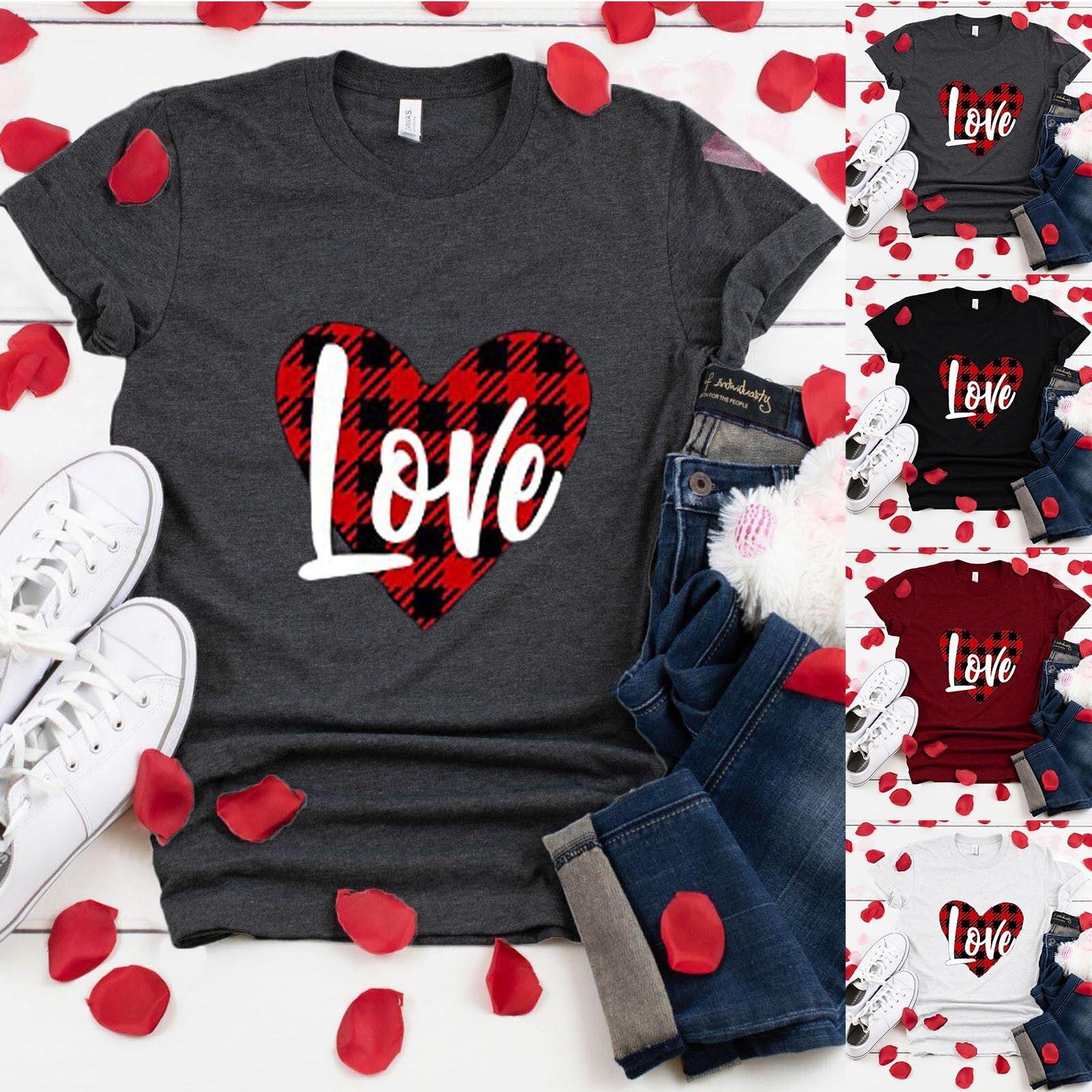 Amor corazón impresión T camisas de Día de San Valentín las mujeres...