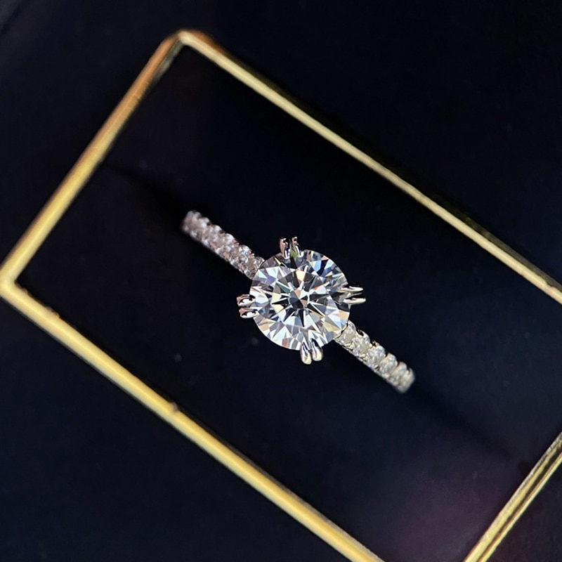Fashion Wedding Ring Dazzling Moissanite Exquisite Luxury 925 Sterling Silver Jewelry For Women Engagement Statement Gift