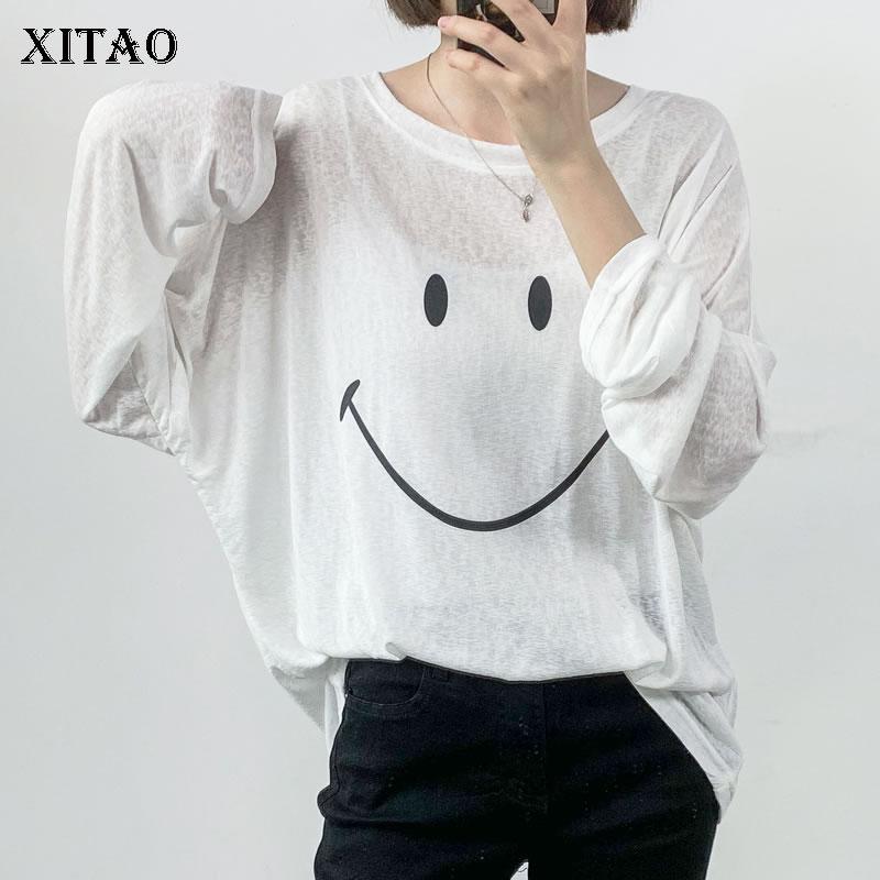 Xitao maré smiley fino listrado tshirt roupas femininas 2020 verão nova moda solto pulôver manga completa combinar todos os t topo dmy5329