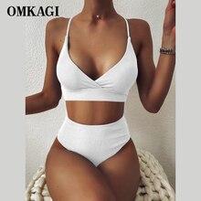 OMKAGI femmes maillot de bain côtelé taille haute solide noir blanc Push Up Bikini ensembles 2021 maillots de bain femme avec maillot de bain rembourré