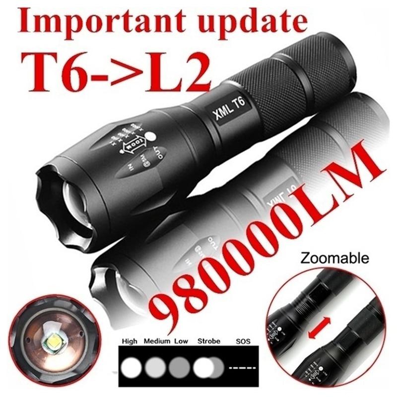 3. Linterna LED recargable para Exteriores Cree T6, potente Linterna Led para acampar