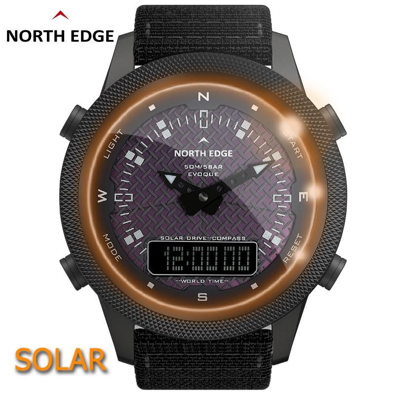 Male outdoors waterproof smart compass watch watch light solar charging display pointer