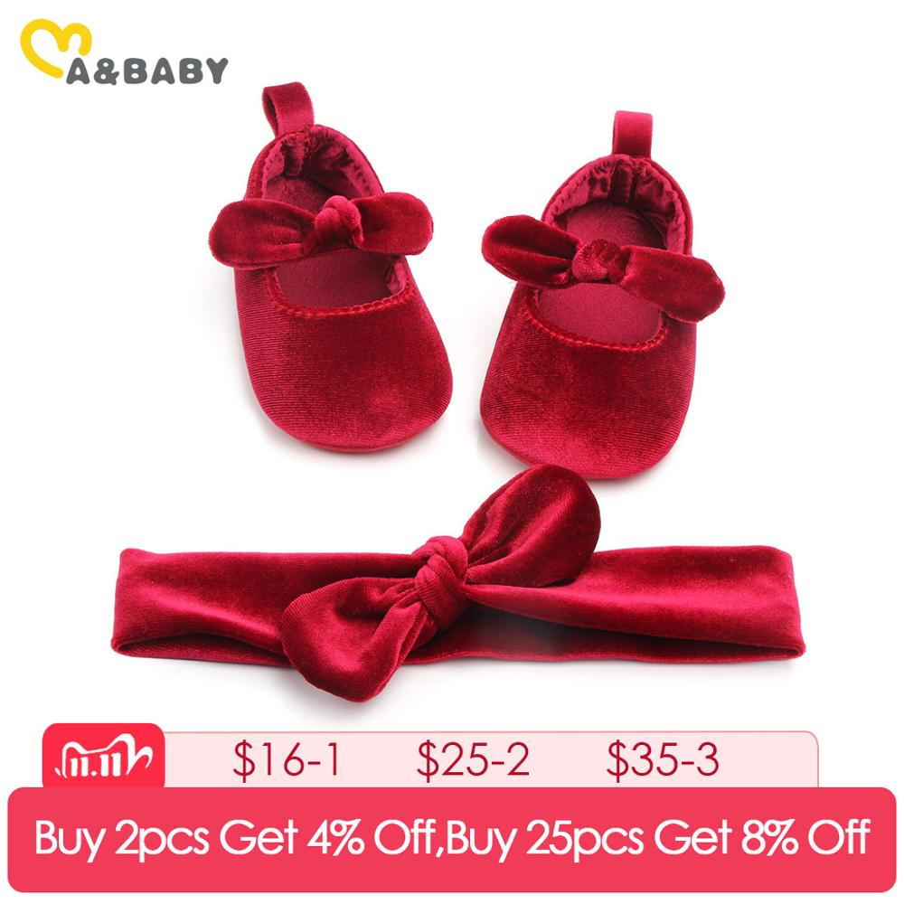 0-18M Princess Newborn Infant Baby Girls Shoes Velvet Red Christmas Baby Shoes Bow First Walkers