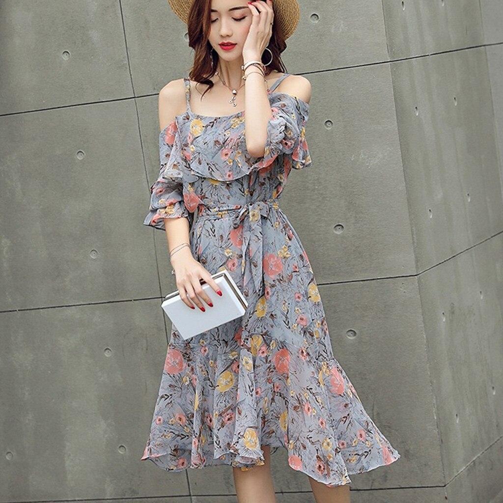 10 # vestido de verano para mujer 2019 vestido Sexy bohemio para mujer nueva moda primavera y verano de manga corta vestido Floral con correa larga y delgada
