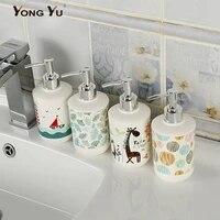 Distributeur de savon en plastique imprime de 320ML  accessoires de salle de bains  pompe pour desinfectant pour les mains rechargeables  decoration de la maison