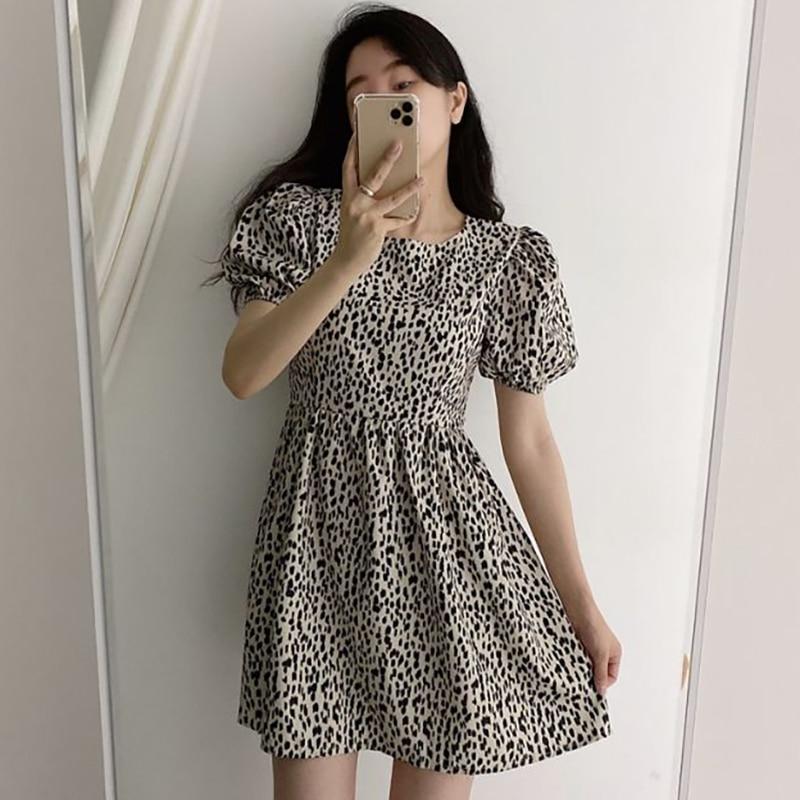 Vestido de mujer Sannian 2020 nuevo coreano verano Retro leopardo temperamento cuello redondo manga de burbuja cintura vestidos de manga corta mujeres