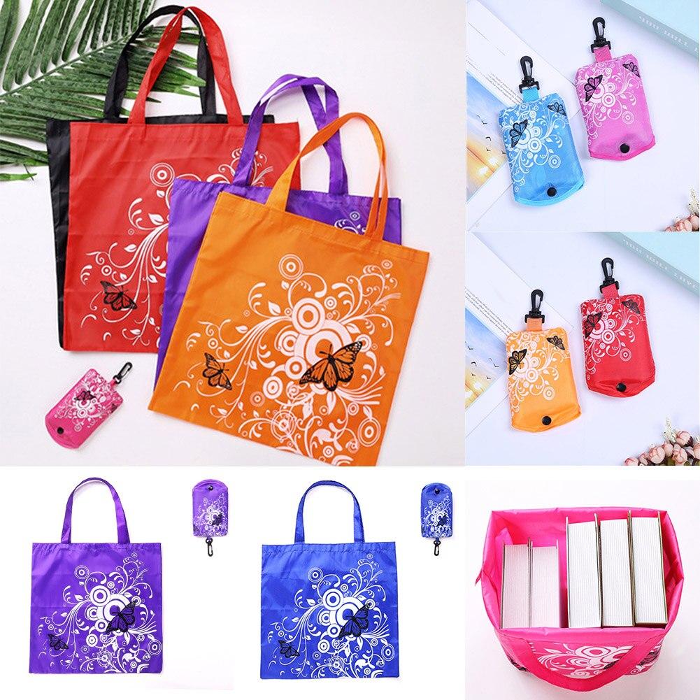 Складная Сумка Для Покупок Сумка через плечо с цветком бабочки портативная Экологически чистая продуктовая сумка многоразовая сумка-тоут ...