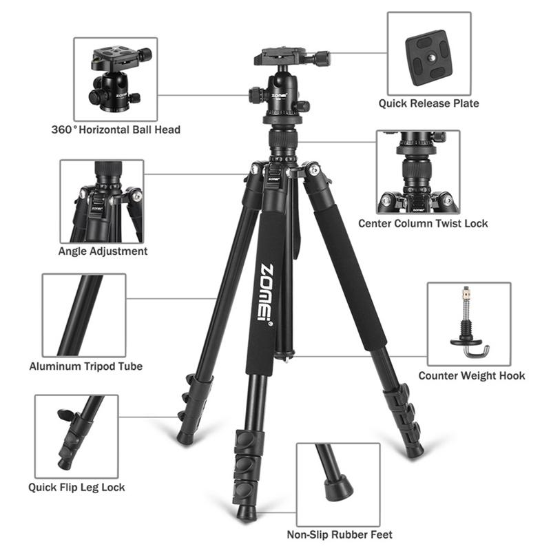 Zomei Q555 Professional Tripod Aluminum Flexible Portable Camera Tripod Stand Tripe with Ball Head for DSLR camera Smartphones enlarge