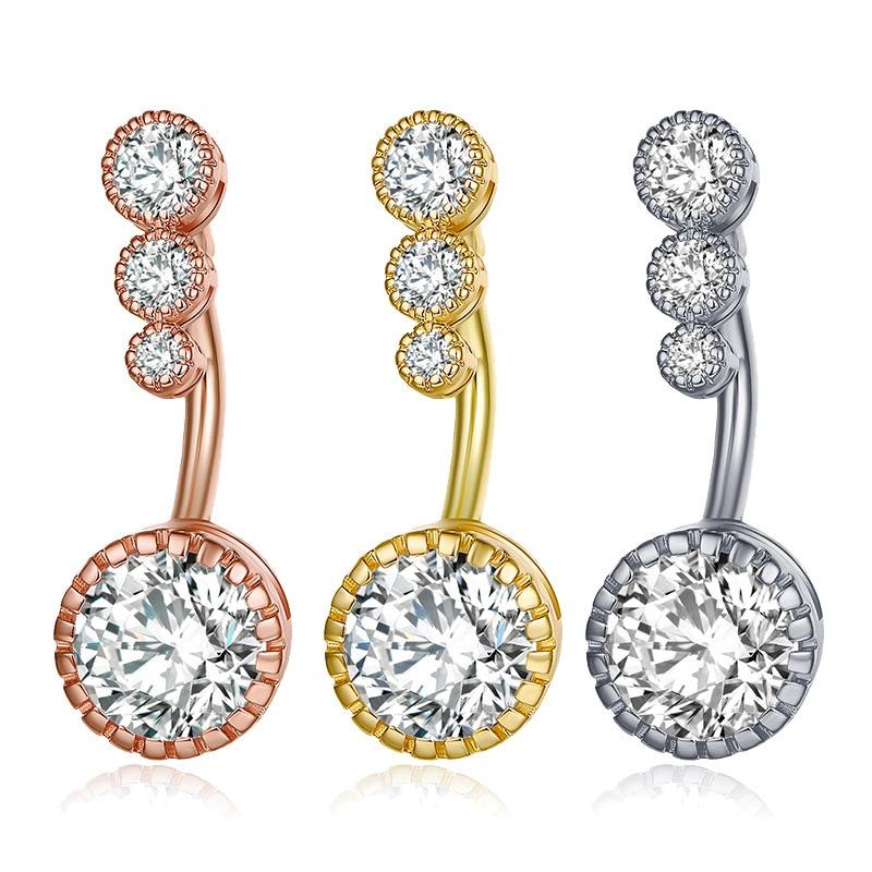1 pçs de cristal czs belly button anéis 316l aço cirúrgico umbigo anéis piercing barriga nombril ombligo feminino masculino jóias do corpo