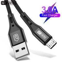 Кабель GTWIN USB-Micro-USB для быстрой зарядки, максимальный ток 3А, длина 0.5м/1м/2м/3м, цвет черный/синий/фиолетовый/красный