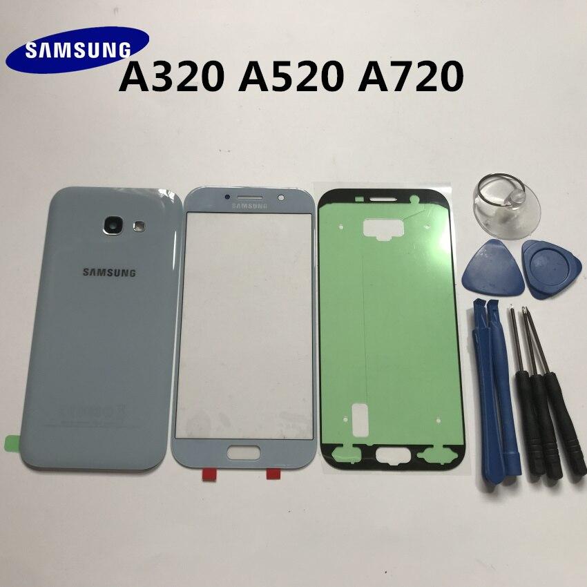 Оригинал, Samsung Galaxy A3 A320 A5 A520 A7 A720 A2017, корпус, заднее стекло, задняя крышка для телефона, Батарейная дверь + передняя стеклянная линза + Инструменты