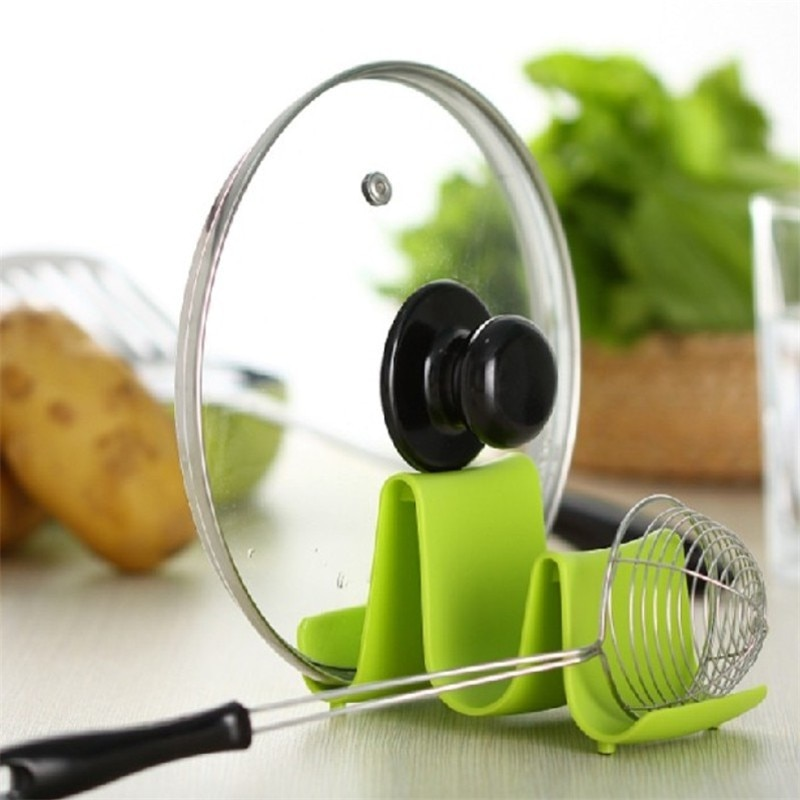 Plastic Kitchen Wave Shape Pot Pan Cover Lid Shell Stand Holder Racks Ladle Spoon Storage Rack Cooking Tools