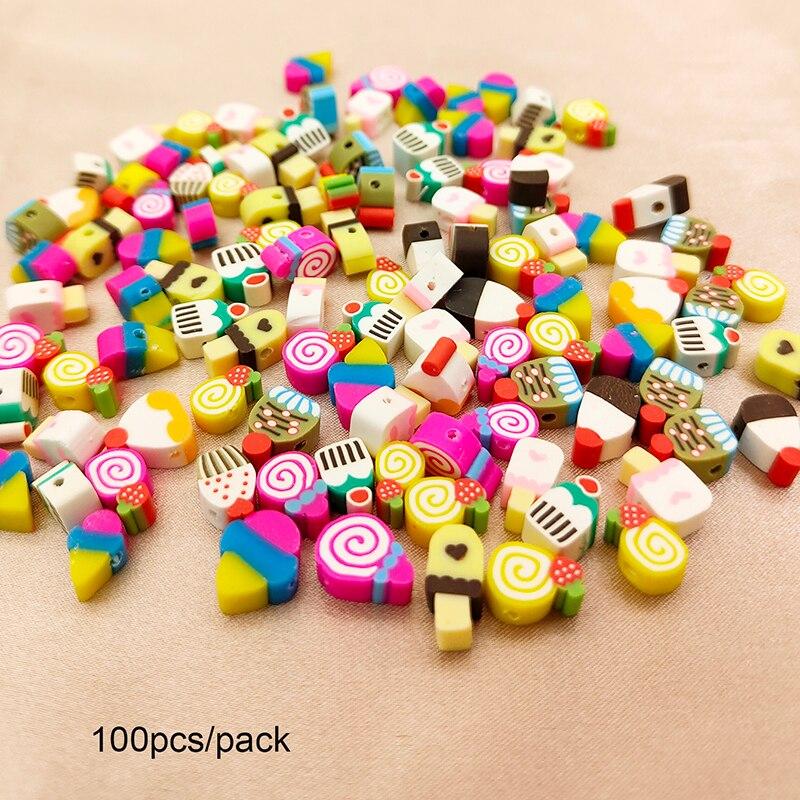 100 Stks/pak Van Kleurrijke Zachte Keramische Losse Kralen Ijs Lolly Diy Sieraden Accessoires Kralen Sieraden Maken