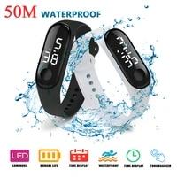 1pcs led digital watch luxury white light touch screen silicone strap wristwatch women sports yoga bracelets watches kids clocks