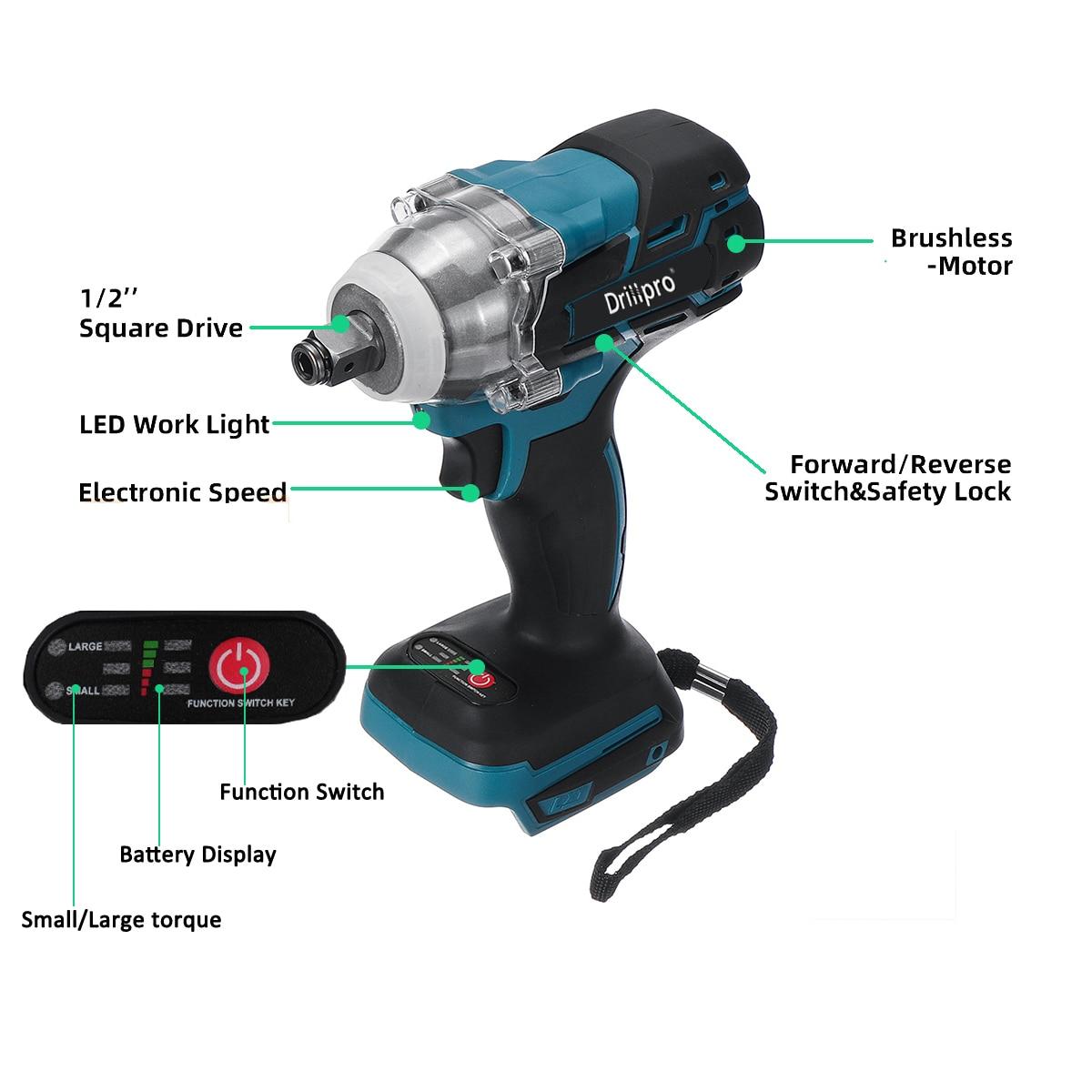 Harjadeta juhtmeta elektriline löökvõtmega laetav 1/2 tolline - Elektrilised tööriistad - Foto 5