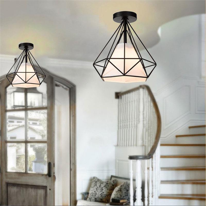 20cm Vintage Industrial Rustic Flush Mount Ceiling Light Metal Lamp Fixture Nordic Style Creative Retro Light Lamp Black / White