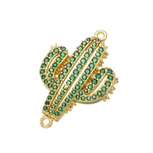 Conectores de cristal ZHUKOU 18x28mm brillantes verde desierto cactus para collar accesorios de joyería modelo: VD402