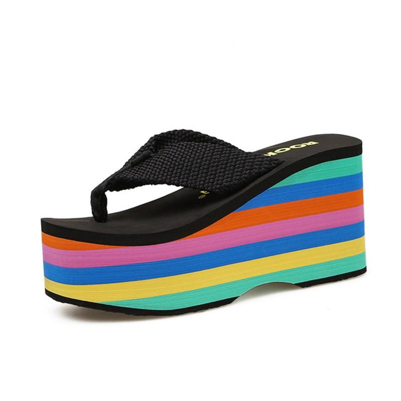 AliExpress - Women Beach Flip Flops Soft EVA Slippers 2021 Summer Platform Shoes Woman Super High Heels Female Fashion Slides Wedges Sandals