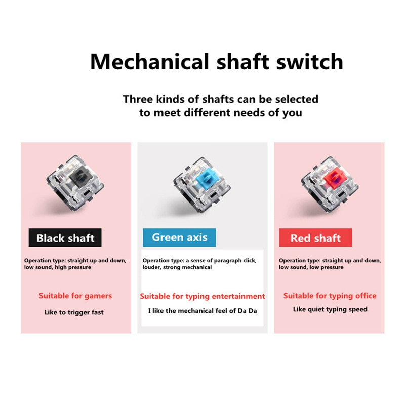 New girly pink gaming mechanical wired keyboard 104-key USB interface white backlight is suitable for gamers PC laptops enlarge