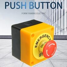 Interruptor de botón de parada de emergencia de 22mm con caja 1 NO 1 NC 10A 660v caja resistente al agua Botón de mano a prueba de explosiones anticorrosi